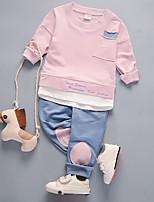 cheap -Unisex Daily Holiday Print Color Block Clothing Set, Cotton Spring Summer Long Sleeves Active Green Blushing Pink Gray