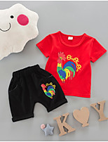 cheap -Kids Girls' Jacquard Short Sleeves Clothing Set