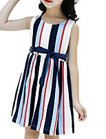 cheap -Girl's Daily Holiday Striped Dress, Cotton Polyester Summer Sleeveless Cute Active Blue