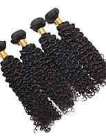 cheap -4 Bundles Malaysian Hair Kinky Curly Human Hair Natural Color Hair Weaves / Hair Bulk / Bundle Hair / One Pack Solution 8-28 inch Natural Color Human Hair Weaves Extention / Best Quality / Hot Sale