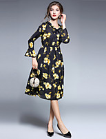 cheap -SHIHUATANG Women's Vintage Street chic Flare Sleeve A Line Dress - Floral Print