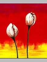 Недорогие -Hang-роспись маслом Ручная роспись - Абстракция Цветочные мотивы / ботанический Традиционный холст