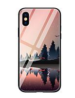 preiswerte -Hülle Für Apple iPhone X iPhone 8 Muster Rückseite Landschaft Hart Gehärtetes Glas für iPhone X iPhone 8 Plus iPhone 8 iPhone 7 iPhone 6s