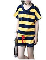 Недорогие -Девочки Повседневные Праздники Полоски Набор одежды, Хлопок Полиэстер Лето С короткими рукавами Классический Белый Желтый