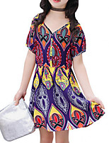 cheap -Girl's Daily Going out Print Dress, Cotton Polyester Summer Short Sleeves Cute Boho Purple