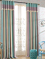 cheap -Curtains Drapes Living Room Stripe Contemporary Cotton / Polyester Printed