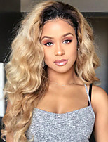 cheap -Remy Human Hair Wig Brazilian Hair Wavy 150% Density With Baby Hair With Bleached Knots Unprocessed Natural Hairline Ombre Hair Brown