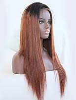 preiswerte -Remi-Haar Perücke Brasilianisches Haar Glatt 130% Dichte Mit Babyhaar Mit gebleichten Knoten Natürlicher Haaransatz Gefärbte Haarspitzen