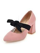 abordables -Femme Chaussures Cuir Nubuck Printemps / Automne Escarpin Basique Chaussures à Talons Talon Bottier Bout pointu Noeud Noir / Rose