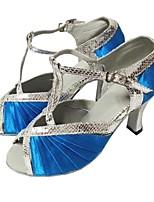 baratos -Mulheres Sapatos de Dança Latina Cetim Salto Interior Salto Personalizado Personalizável Sapatos de Dança Preto e Prateado / Azul /