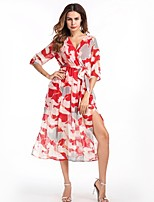 cheap -SHE IN SUN Women's Basic Petal Sleeve A Line Swing Dress - Floral, Split
