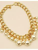 baratos -Mulheres Colares com Pendentes  -  Elegant Fashion Alegria JOY Dourado 42cm Colar Para Casamento Festa de Noite