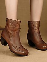 preiswerte -Damen Schuhe Leder Herbst Winter Springerstiefel Stiefel Blockabsatz Runde Zehe Mittelhohe Stiefel für Draussen Kaffee