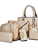 cheap -Women's Bags PU Bag Set 6 Pieces Purse Set Embossed for Casual Gold / White / Black