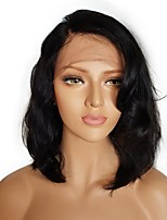 cheap -Unprocessed Human Hair Wig Brazilian Hair Wavy Side Part Short Bob Bob Haircut 130% Density With Bleached Knots With Bangs 100% Hand Tied