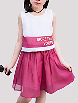cheap -Girl's Daily Patchwork Dress, Rayon Summer Sleeveless Cute Blue Red