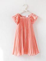 preiswerte -Mädchen Kleid Alltag Festtage Solide Baumwolle Sommer Kurzarm Grundlegend Rosa