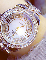 cheap -Women's Quartz Dress Watch Chinese Chronograph Imitation Diamond Luminous Stainless Steel Band Luxury Sparkle Silver Gold