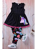 Недорогие -Девочки Повседневные На выход Однотонный Радужный Набор одежды, Нейлон Весна Осень Без рукавов Очаровательный Активный Черный