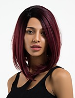 cheap -Synthetic Wig Straight Side Part Natural Hairline Burgundy Women's Capless Natural Wigs Mid Length Synthetic Hair Daily