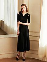 Недорогие -Жен. Винтаж Оболочка Платье - Однотонный, С отверстиями Средней длины