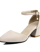 cheap -Women's Shoes Leatherette Spring / Summer Comfort Heels Chunky Heel Pointed Toe Black / Beige