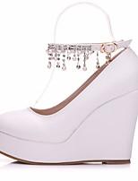 preiswerte -Damen Schuhe PU Frühling / Herbst Komfort High Heels Keilabsatz Weiß / Schwarz / Rosa