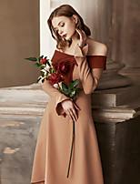 Недорогие -Жен. Винтаж Вспышка рукава А-силуэт Оболочка Платье - Однотонный, Оборки Средней длины