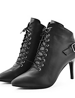 cheap -Women's Shoes Cowhide Fall Winter Combat Boots Boots Stiletto Heel Round Toe Booties / Ankle Boots Buckle for Casual Black