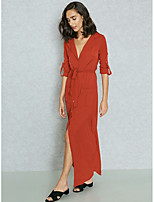 Недорогие -Жен. Изысканный Уличный стиль Оболочка С летящей юбкой Рубашка Платье - Однотонный, Открытая спина Макси
