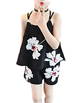 cheap -Girls' Daily Floral Print Clothing Set, Cotton Spring Summer Sleeveless Cute Black