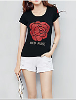 cheap -Women's Basic T-shirt - Floral Print