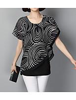 abordables -Mujer Básico Estampado Retazos Blusa Geométrico