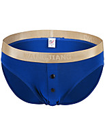 cheap -Men's Briefs Underwear Solid Colored Mid Rise
