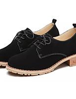 abordables -Femme Chaussures Daim Cuir Nubuck Printemps Automne Confort Oxfords Talon Bottier Bout rond pour Noir Marron