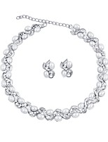 cheap -Women's Imitation Pearl / Silver Plated Floral Jewelry Set 1 Necklace / Earrings - Floral / Fashion Silver Jewelry Set / Bridal Jewelry