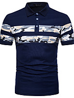 cheap -Men's Street chic Polo - Striped Color Block Camouflage Print