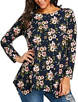 cheap -Women's Going out Cotton Slim Blouse - Floral