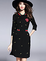 cheap -SHIHUATANG Women's Basic Street chic Sheath Dress - Floral, Embroidered