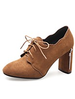 cheap -Women's Shoes Nubuck leather Spring / Fall Comfort Heels Chunky Heel Pointed Toe Black / Brown