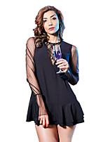 Недорогие -Жен. Кружева Сетка Блуза Классический Однотонный