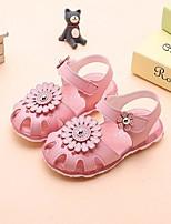preiswerte -Mädchen Schuhe PU Kunstleder Sommer Schuhe für das Blumenmädchen Komfort Sandalen für Normal Weiß Rosa