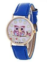 abordables -Mujer Cuarzo Reloj de Moda Chino Esfera Grande PU Banda Búho Moda Negro Blanco Azul Marrón Rosa Rose