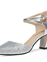 cheap -Women's Shoes Sparkling Glitter Summer / Fall Gladiator / Basic Pump Heels Chunky Heel Gold / Silver / Party & Evening
