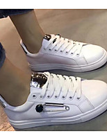 cheap -Women's Shoes Cowhide Spring Fall Comfort Sneakers Flat Heel for White Black