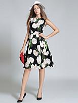 economico -Per donna Vintage Moda città Linea A Vestito - Con stampe, Fantasia floreale Al ginocchio