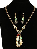 cheap -Women's Rhinestone Oversized Jewelry Set 1 Necklace Earrings - Oversized Elegant Flower Rainbow Jewelry Set For Wedding Evening Party