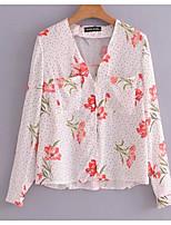 baratos -Mulheres Blusa Básico Estampado,Poá Floral