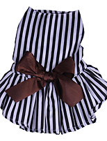 cheap -Dogs Cats Dress Dog Clothes Striped Bowknot Stripe Cotton Costume For Pets Female Stylish Dresses&Skirts