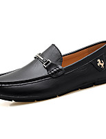 cheap -Men's Moccasin Cowhide / PU Fall / Spring & Summer Casual Loafers & Slip-Ons Walking Shoes Breathable Black / Brown / Dark Brown